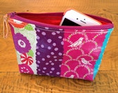 Fun and Colorful Flower, Birds and Dots Vinyl Coated Fabric Zippered Lined Clutch