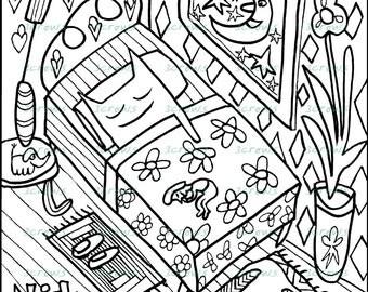 Adult Coloring Book Page - Sleeping Cat - Single Art Sheet - Whimsical Funny Animal Zentangle Zendoodle Doodle Dog Bedroom