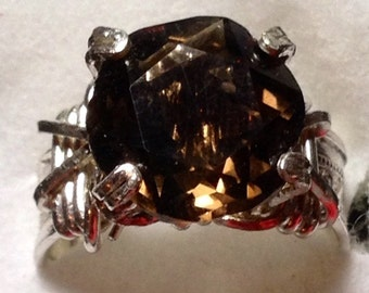 Brown topaz and silver ring