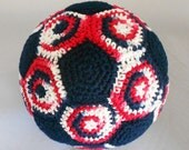 Soft American Soccer Ball / Red White and Blue Soccer Ball / Soft European Football / Crocheted Indoor Soccer Ball