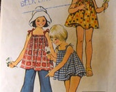 Vintage Sewing Pattern Simplicity 5705 JIFFY Girls' Top, Bell Bottom Pants, and Bloomers Size 5 Complete