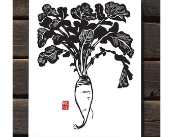 "ART536: Long Daikon 11""x14"" Letterpress Art Print"