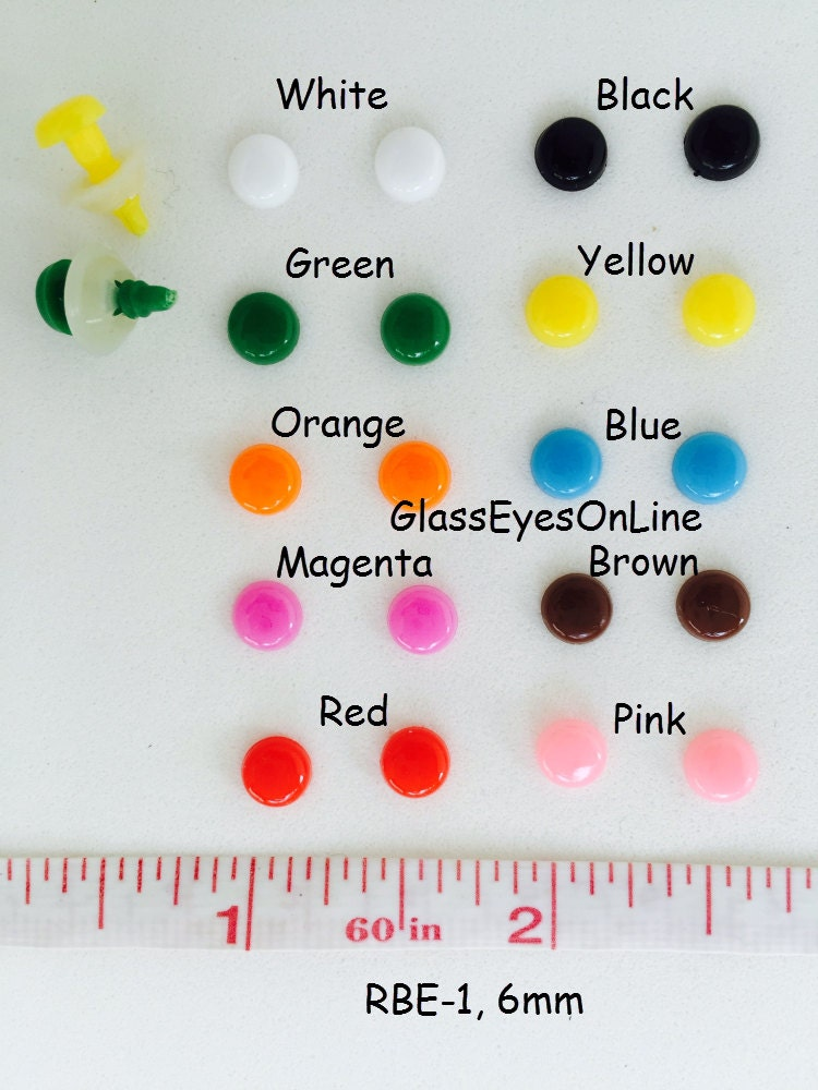 Amigurumi Button Eyes : 20 Pair 6mm or 8mm Round Flat Safety Eyes, Noses, Buttons ...