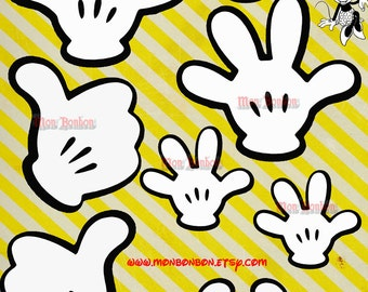 Digital Character Mickey Hands Clip Art for scrapbooking, card making, journaling, Disney Inspired - INSTANT DOWNLOAD