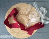 """18th Century Bergere Natural Straw Hat  14.5"""" Ready To Decorate- Small"""