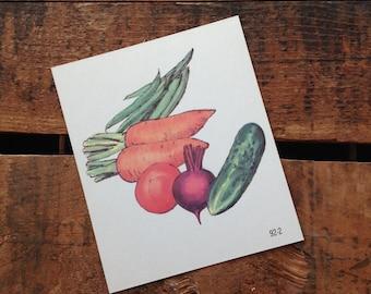 Vintage Square Flash Card - Vegetables / Violin / Letter V - Great Illustration - 70s