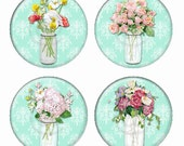 Mason Jar Flower Arrangements On Aqua Damask Backgrounds Magnets or Pinback Buttons or Flatback Medallions Set of 4