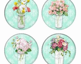 Mason Jar Flower Arrangements On Aqua Damask Backgrounds Magnets or Pinback Buttons or Flatback Medallions Set of 4