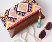 Boho Tassel Clutch in Coral, Mint, and Navy Tribal Ikat Print with Tan Vegan Leather and Pink zipper close