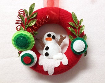 Wreath, Christmas Wreath, Winter Wreath, Snowman, Swirly Gig, Red and Green, Mini Wreath