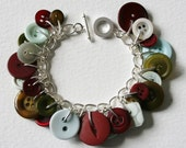 Button Bracelet Creamy White Mossy Green Burgundy Red