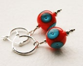 Orange and Blue Lampwork Glass Beads Sterling Silver Hoop Earrings