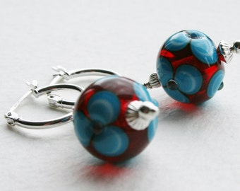 Lampwork Glass Beads Biba Style Sterling Silver Hoop Earrings