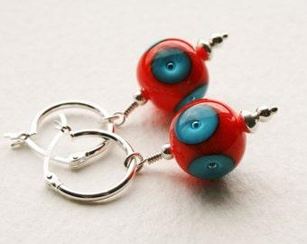 Orange and Blue Lampwork Glass Beads Sterling Silver Hoop Earrings