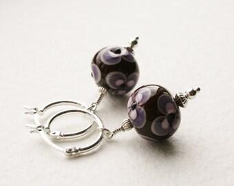 Lampwork Glass Earrings Sterling Silver Hoop Earrings Purple and Lilac