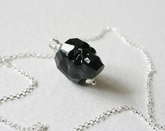Black Crystal Skull Charm Necklace Sterling Silver