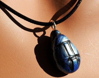 Scarab Blue Iridescent Pendant on Black Snake Cord, Handmade Poymer Clay Scarab Necklace