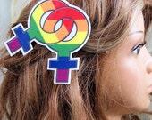 Double Female Rainbow Symbol Lesbian Pride Hair Clip MTCoffinz