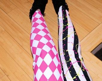 Neon Pink Diamond and 80's Splatter Stripe Stretch Lycra Leggings Adult All Sizes MTCoffinz