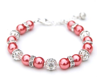 Coral Rose Pearl Rhinestone Bracelet, Bridesmaid Gifts, Bridal Party, Bling Bracelet, Summer Wedding, Bridesmaid Bracelets, Gift Under 30