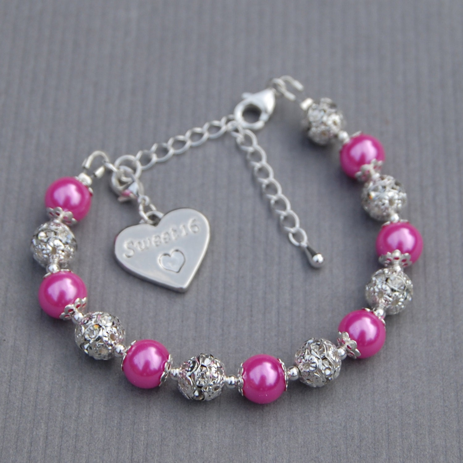 Sweet 16 Jewelry Sweet 16 Gift 16th Birthday Charm Bracelet