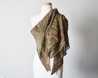 Murky Spring Hand Knit Lace Triangle Scarf - Women's Fashion, Blanket Scarf. Soft Hand Dyed Superwash Wool