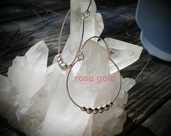 Rose Gold or Yellow Gold Beaded Hoops, Gold Filled, Hinged Hoop Earrings