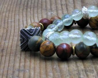 Red Creek Jasper Modern Beaded Bracelet, Jasper Sterling Silver Stretch Bracelet, Unisex Under 200