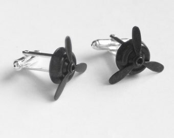 Airplane Propeller Cuff Links, Pilot Cuff Links, Aviator Cuff Links, Steampunk Spinning Propellers, Groomsmen Gift, Silver Cuff Links