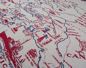 ALASKA Map Tablecloth Souvenir Linen Travel Alaskan State History Blue and Red Table Cloth Napkins