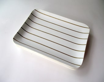 Set of FOUR Gold and White Trinket Trays Stripe Serving Home Decor