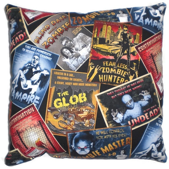 ON SALE Clearance Horror/Psychobilly Zombie Movie Decorative Rockabilly Style Throw Pillow Home Decor