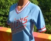 vintage 70s t-shirt ringer jersey TROJANS stripe baseball raglan v-neck champion women's 10 Medium