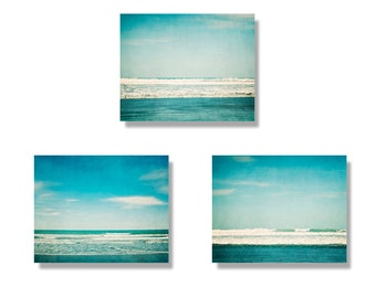 Beach decor canvas art set, teal ocean set of 3 beach canvases, turquoise, waves, beach photography, ocean photography wall decor, ocean art