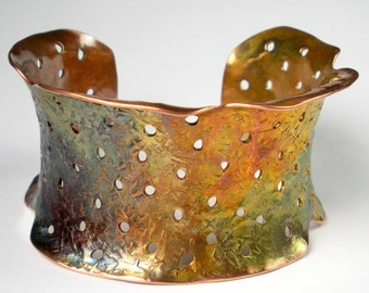 Hammered Copper Cuff, Copper Jewelry, Anticlastic Copper Cuff, Perforated Copper, Rustic Copper Cuff, Flame Patina- Holes In My Theory