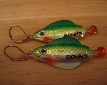 Green Buckshot Lure Earrings