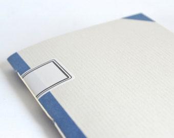 Blue Quick Notes Journal, Navy & Pale Grey Handbound Notebook, Light Grey Journal, Small Notebook