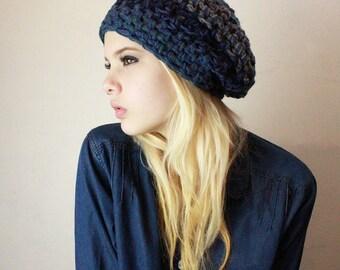 The Gypsy Lace Slouch boho beret vegan Mori Girl Hat vegan sailors storm blue grey teal