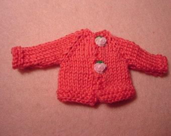 Coral Pink Cotton Sweater for Blythe, Pullip and vintage Skipper Dolls.