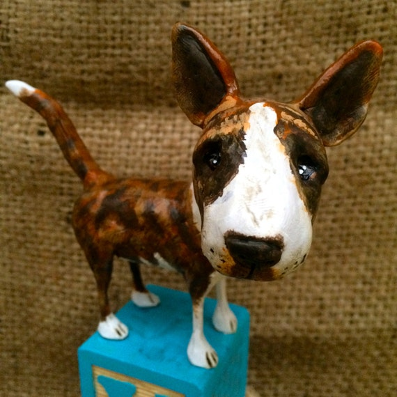 Customize your Dog Pet Portrait clay folk art sculpture on wooden block