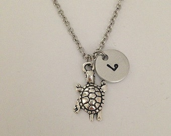 Personalized initial turtle necklace hand stamped jewelry charm necklace turtle pendant