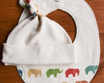 Elephant Baby Hat and Bib Gift Set; Organic Cotton Newborn Baby Cap and Drool Bib Baby Shower Gift; Dribble Bib and Beanie; Elephant Family