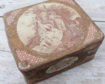 Vintage Antique 1900 old French tin box / Coffret des Familles