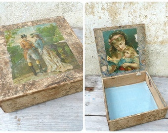 Vintage Antique Victorian 1890/1900 French wooden trinket /box adorned with chromolithography outside & inside