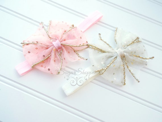 Pink and Gold Sequin Hair Bow, Headband, Ivory and Gold Sequin Headband, Birthday, Pink and Gold Sparkle, First Birthday, Posh, Shimmer,