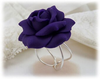 Large Purple Rose Ring - Purple Rose Jewelry, Purple Flower Ring