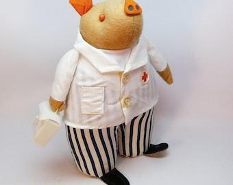 vtg pig figurine doctor Patico collectible stuffed animal San Francisco