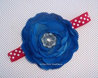 "Patriotic Flower Headband Royal Blue  Flower Headband 3.75"" Ranunculus Rhinestone Flower Red and White Dot Headband Flower Girl Blue Flower"