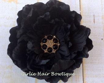 "Black Flower Clip 3.5"" Peony Hair Clip Black & Clear Rhinestone Flower Clip Wedding Bridesmaid Flower Girl Black Hair Clip Black Hair Flower"