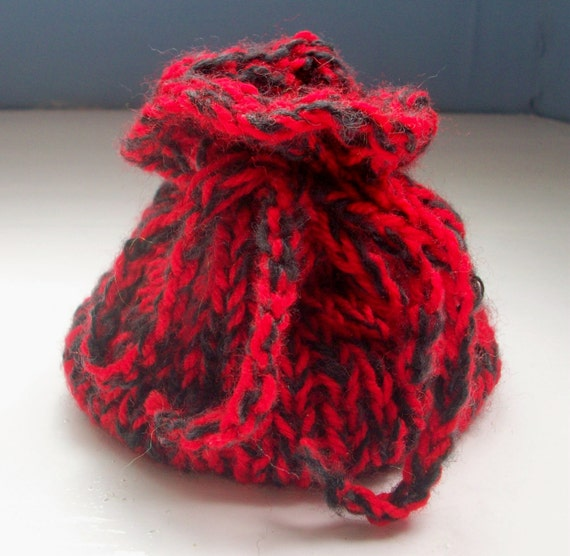 Hand knitted dice bag coin pouch small drawstring bag D&D